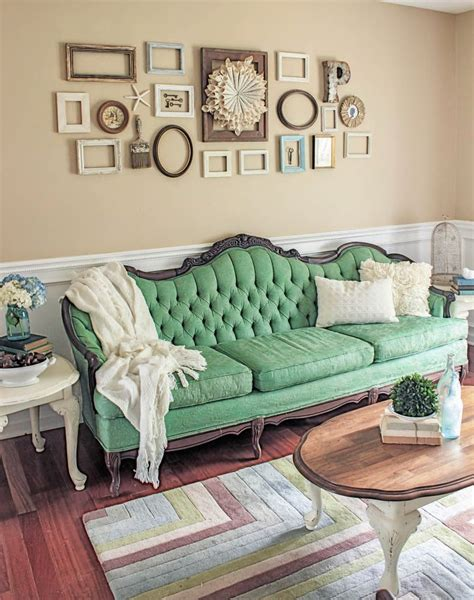 painted sofa makeover monday green painted sofa shades of blue interiors