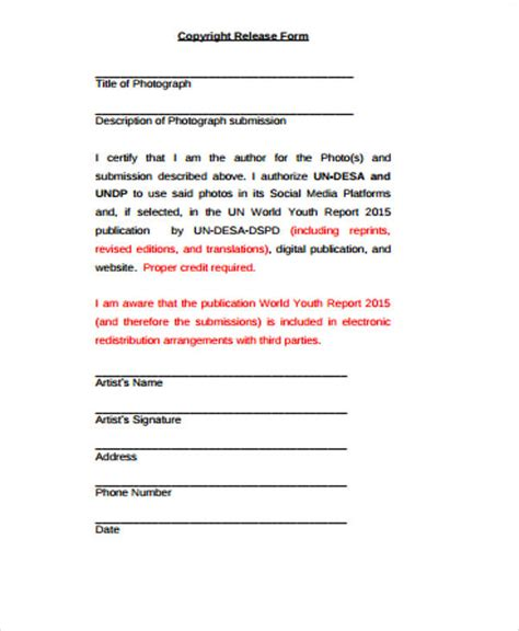 sample copyright release forms  ms word