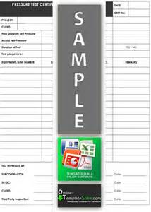 pressure test certificate template quality forms construction templates
