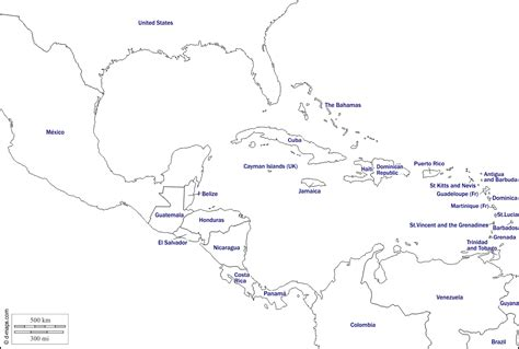 blank map central america caribbean islands blank map of central america and caribbean islands