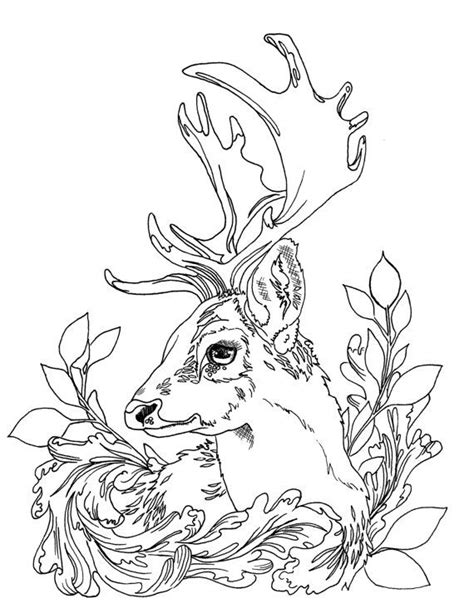 printable deer coloring pages for adults adult coloring page deer with leaf motif by jennrimbeyart
