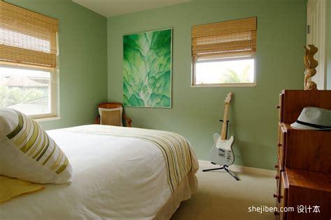 田园风格次卧室浅绿色壁纸装修图片 设计本装修效果图