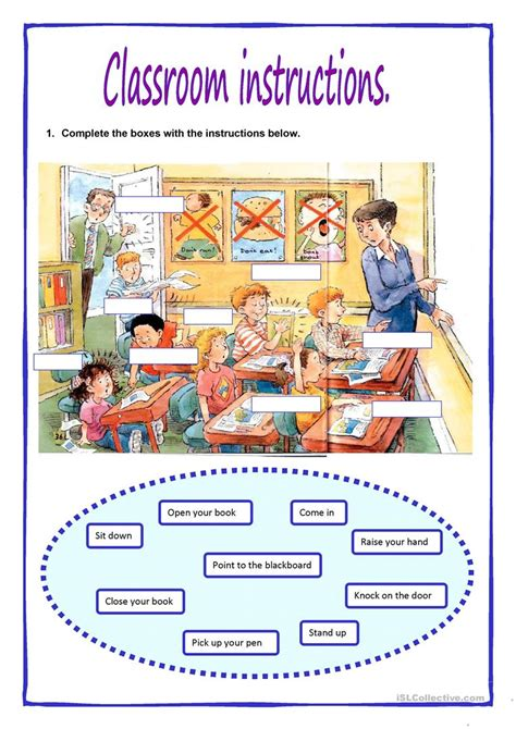 printable instructions classroom classroom instructions worksheet free esl printable