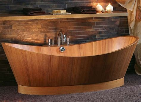 wooden bathtubs create an amazing bathroom design with wooden bathtubs