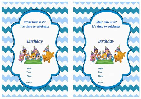 printable bubble guppies birthday invitations bagvania