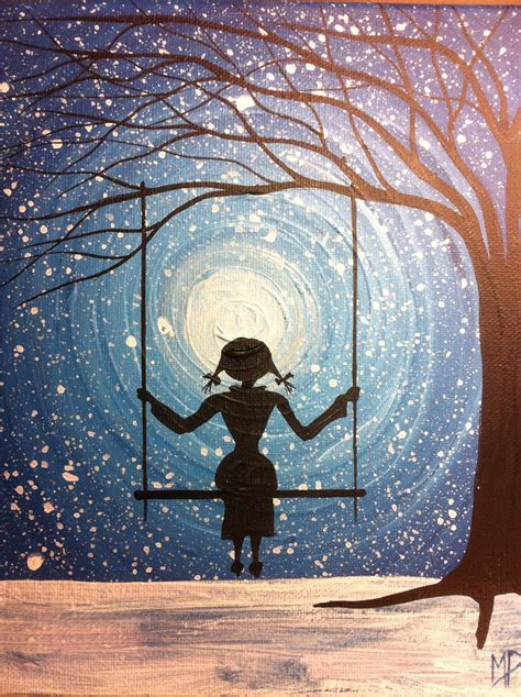 swing paint girl on swing painting i will wait forever 10 x 8 acrylic on