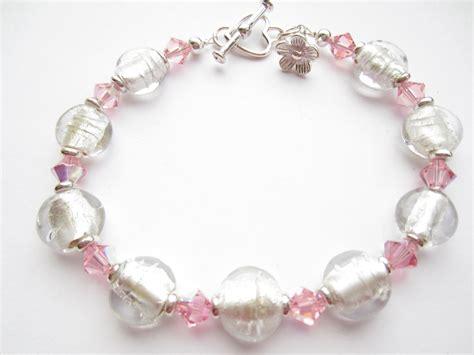 glass bead charm bracelet bracelet glass bead bracelet pink swarovski