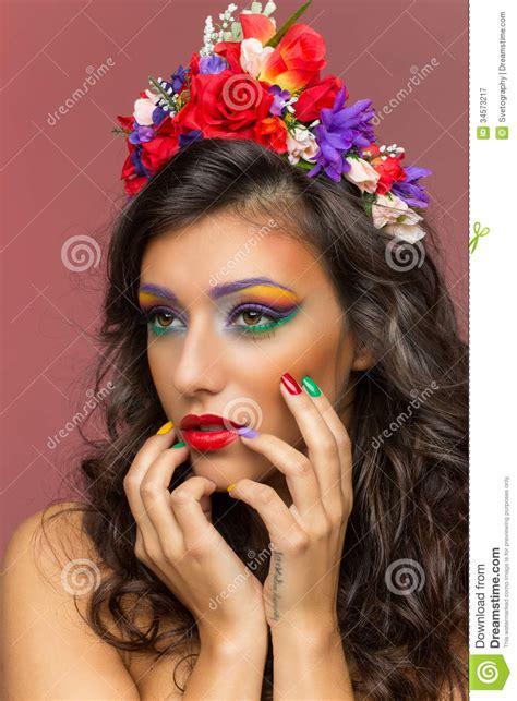 closeup of beautiful baby with flower headband stock photo beautiful wearing flower headband stock image