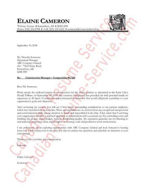 Cover Letter Exle Government Of Canada Construction Manager Letter Of Introduction Sle