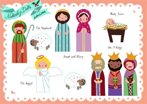 Printable Nativity Scene Cutouts | free paper doll printables the nativity santa s helpers