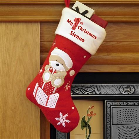 Personalised My 1st Christmas Teddy Bear Stocking