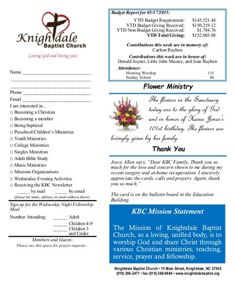 Church Food Pantry Mission Statement by Knightdale Baptist Church May 24th Sunday Worship Bulletin