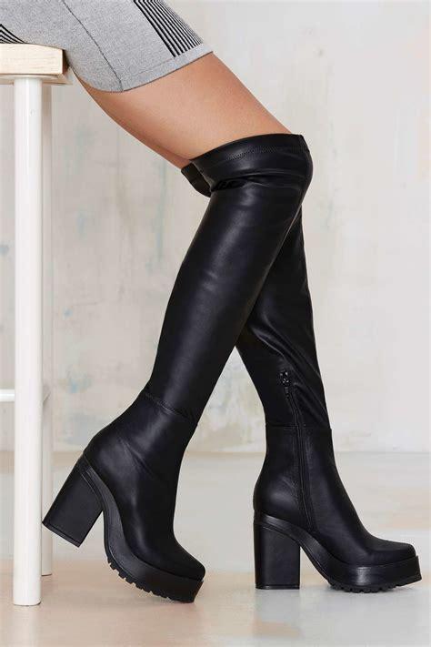 platform boots e8 emi the knee platform boot in black lyst
