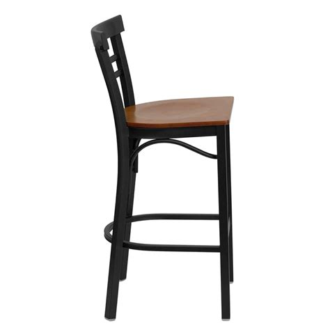 Ladder Back Bar Stool Black Ladder Back Metal Restaurant Barstool With Cherry Wood Seat Bfdh 6145cwbarlad