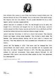 john lennon biography worksheet english worksheets biography of john lennon