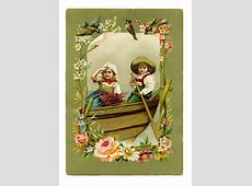Vintage Image - Gorgeous Children in Boat with Birds - The ... Free Clip Art Santa And Reindeer