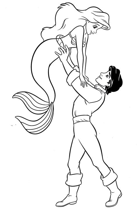 Coloring Pages Ariel And Eric | princess ariel prince eric coloring pages coloring
