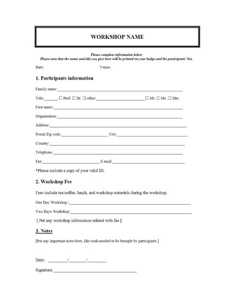 workshop card template event registration form template microsoft word