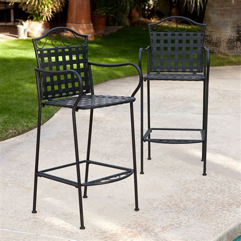 Outdoor Bar And Bar Stools by Woodard Wrought Iron Outdoor Bar Stool Set Of 2