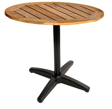 teak patio table black x base