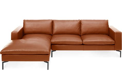 chaise sofa leather new standard leather sofa with chaise hivemodern com