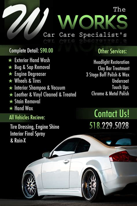 auto detailing flyer template the works auto detailing flyer by jcdesign126 on deviantart