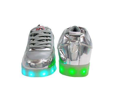 Shoes Glossy Led galaxy led shoes light up usb charging low top sneakers silver glossy fusion galaxy led