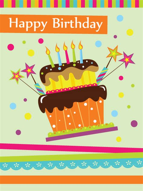 Free Happy Birthday Cards Vector Set Of Happy Birthday Cake Card Material 02