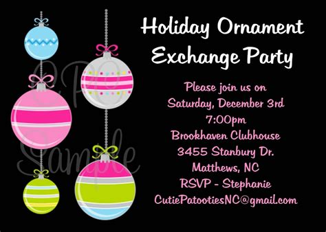 sle wording for ornament exchanges ornament exchange invitation printable