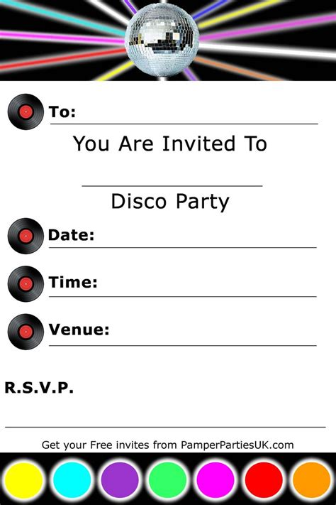 template for invite invitations free disco invitations disco invites