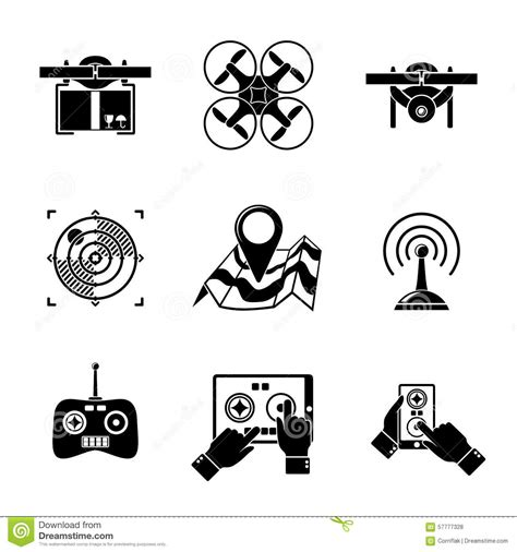 doodle surveillance set of drone icons with box top view stock vector