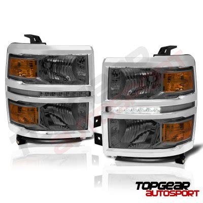 Smoked Led Light Bar Chevy Silverado 1500 2014 2015 Smoked Led Drl Headlights And Light Bar Led Lights