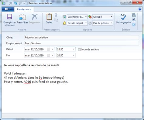 transformer un e mail en rendez vous dans windows live mail
