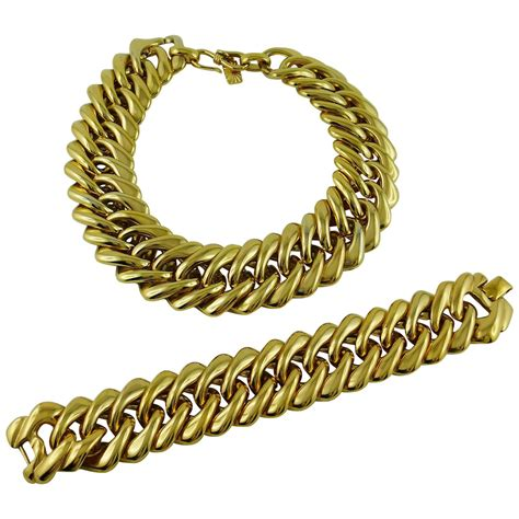 Ay Slvintage Set yves laurent ysl vintage classic curb chain necklace