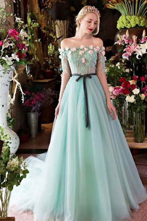 Handmade Prom Dresses - mint organza shoulder sleeves handmade flower