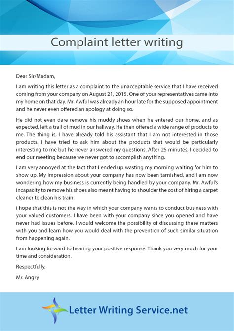 Complaint Letter Exle About Poor Service Letter Writing Writing And Letters On