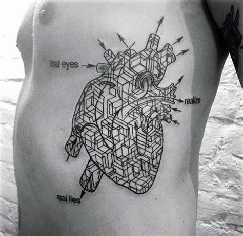 geometric rib cage tattoo 50 geometric heart tattoo designs for men symmetrical ideas