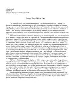 Essay Thesis by 6 Feminist Theory Paper