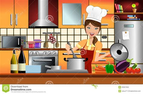 騁amine cuisine cook in a modern kitchen stock vector