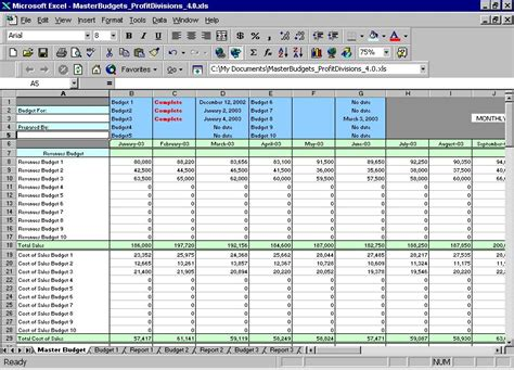 master budget template excel templates budget exchange rate profit