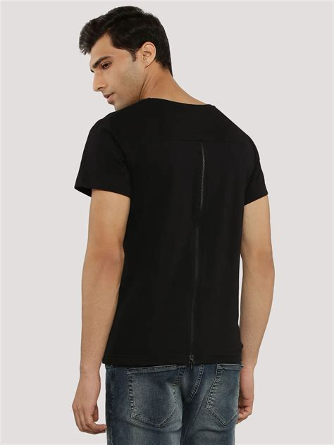Sleeve Zip T Shirt buy blue back zip t shirt for s black t