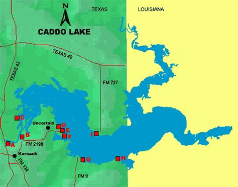 texas bank fishing map caddo lake access