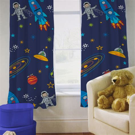 rocket curtains children s kids curtains space boy planets rocket 66 quot by
