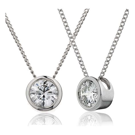 bezel set solitaire pendant available in 18k white