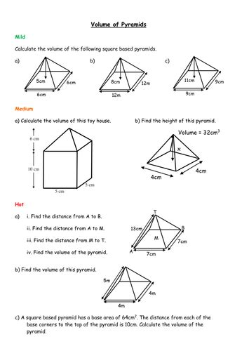 Volume Of Pyramid Worksheet by Volume Of Pyramids By Mizz Happy Teaching Resources Tes