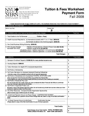 Nyu Mba Tuition Payment by Fillable W4 Nyu Tuition Fees Worksheet