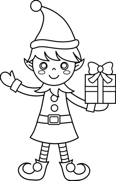 coloring page elf with present elf coloring pages free christmas coloring pages