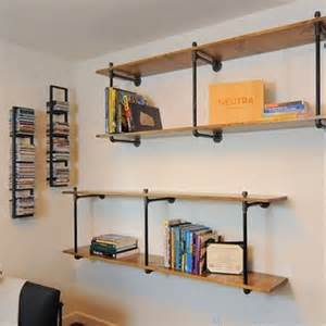 Upcycled Bookcase American Country Wrought Iron Wood Wall Mount Pipe Storage