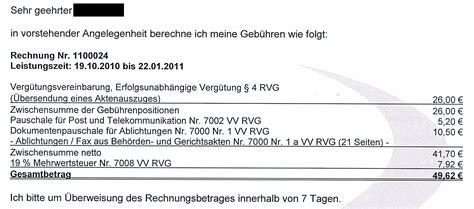 Musterrechnung Rechtsanwalt Zus 228 Tzliche Kosten F 252 R Zusendung Des Aktenauszuges Standesrecht Anwalts Und Verfahrenskosten