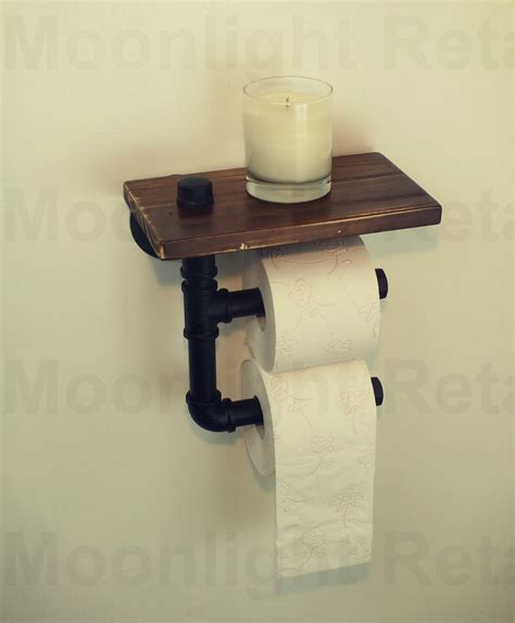 wooden toilet paper roller industrial urban rustic iron pipe toilet paper holder